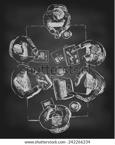 Business team meeting concept, top view, people on table, chalkboard (blackboard) sketch vector illustration - stock vector
