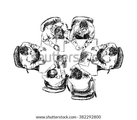 Business team meeting concept top view people on table sketch vector illustration - stock vector