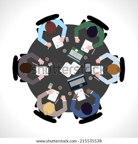 Business team meeting concept top view people on table vector illustration - stock vector