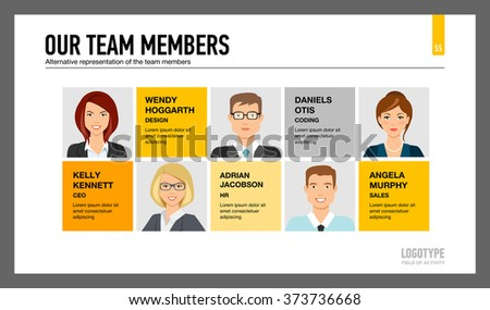 Business team members chart slide. Our team members chart presentation slide. Team members chart infographic. Team members chart infographic web. Teamwork concept infographic image. - stock vector