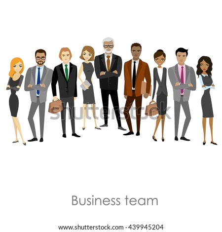 Business team of employees and the boss ,isolated on white background, cartoon vector illustration - stock vector