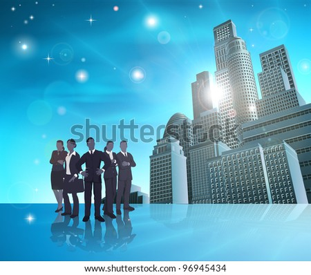 Business team of in front of modern city background.