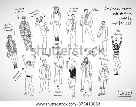 Business team posts and characters hand drawn isolate figures black lines. Every object is separated. Monochrome vector illustration. EPS10