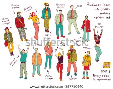Business team posts and characters ink color isolate figures. Every object is separated. Color vector illustration. EPS8