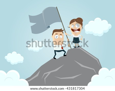 business team reaching the top of the mountain - stock vector