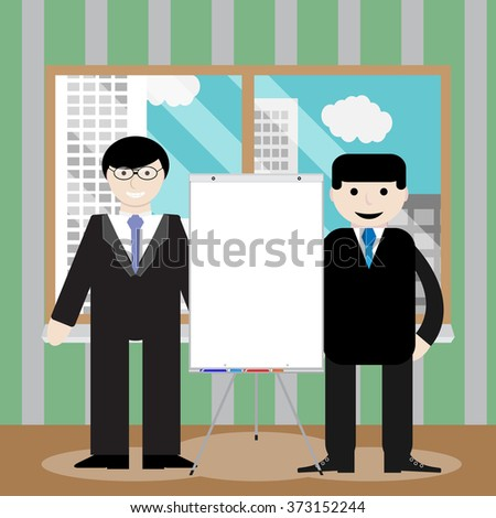 Business team show presentation. Office presentation, business people, businessman teamwork, banner or billboard or poster, workplace whiteboard. Vector art abstract unusual fashion illustration