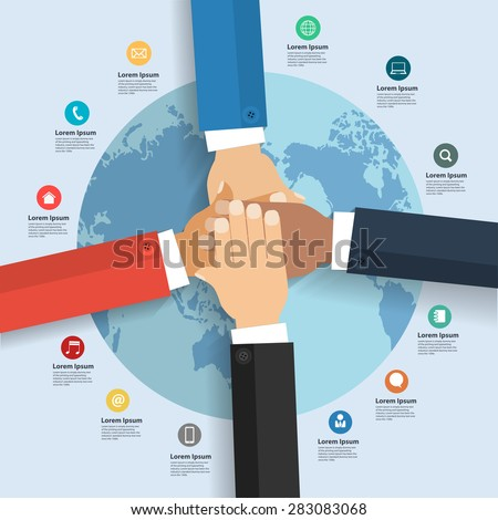 Business team showing unity with their hands together, With international global business and flat icons, Infographic layout, diagram, step up options, Vector illustration modern design template - stock vector