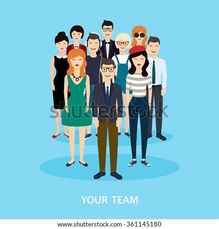 Business Team. Teamwork. Social Network and  Media Concept.  Flat vector illustration. - stock vector