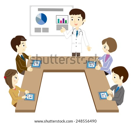 Business team that has a white coat of a man and a meeting - stock vector
