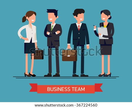 Business team vector concept layout featuring corporate business people line-up. Abstract group of office workers standing smiling. Men and women in office wear full length, isolated - stock vector