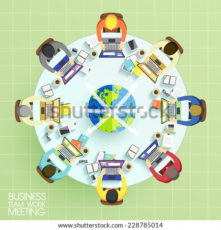 business team work meeting concept in flat design  - stock vector