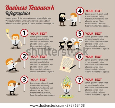Business teamwork process infographic cartoon set, Partnership and workflow process - stock vector