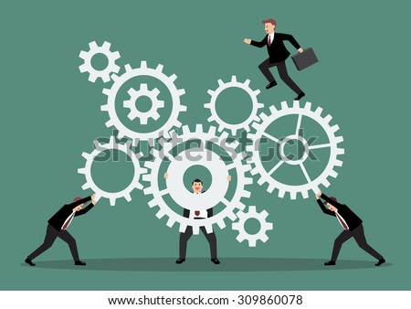 Business teamwork with mechanism system. Vector Illustration - stock vector