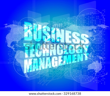 business technology management words on touch screen interface vector illustration - stock vector