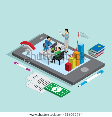 business technology mobile phone for business people. isometric concept