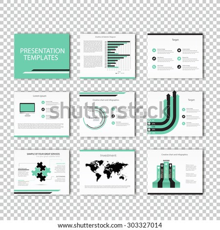 Business Template brochure flyer design set Presentation. Light color version. Very easy to use for your next project. - stock vector