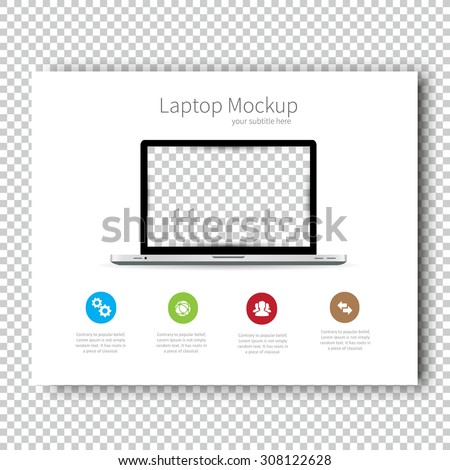 Business Template brochure Mockup laptop flyer design Presentation. Very easy to use for your next project. - stock vector