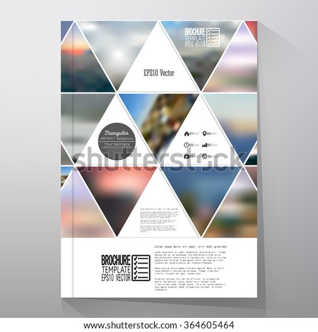 Business template for brochure, flyer or booklet. Abstract multicolored background of blurred nature landscapes, geometric vector, triangular style illustration. - stock vector