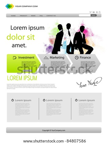 Business template web site - stock vector