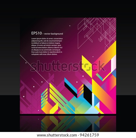Business template with abstract object on magenta background - stock vector