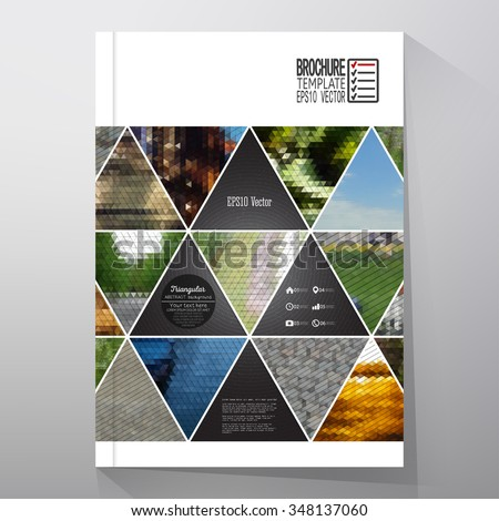 Business templates for brochure, flyer or booklet. Abstract multicolored background of nature landscapes, geometric vector, triangular style illustration. - stock vector