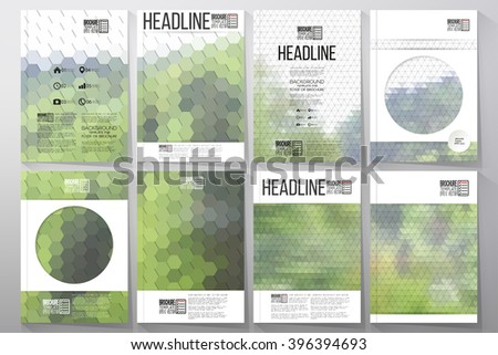 Business templates for brochure, flyer or booklet. Nature landscape. Collection of abstract multicolored backgrounds. Natural geometrical patterns. Triangular and hexagonal style vector illustration