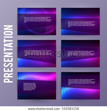 Business templates for multipurpose presentation slides. Easy editable vector EPS 10 layout. Set of 6 design brochure advertising, Northern Lights neon effect on purple background event party flyer
