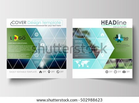 Business templates for square design brochure, magazine, flyer or report. Leaflet cover, abstract flat style travel decoration layout, easy editable vector template, colorful blurred natural landscape