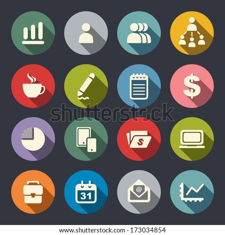 Business theme flat icons - stock vector