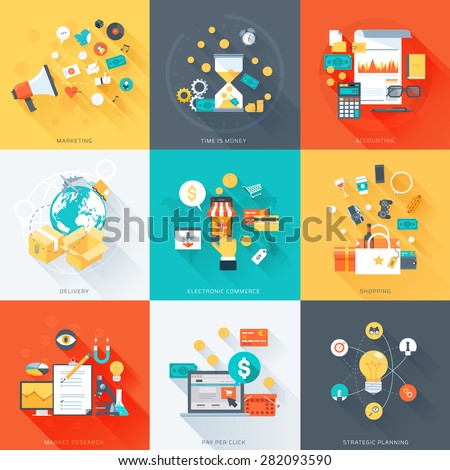 Business theme, minimal, stylish, flat style, colorful, vector design elements for info graphics, websites, mobile and print media. - stock vector