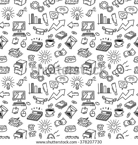 business themed doodle seamless background - stock vector