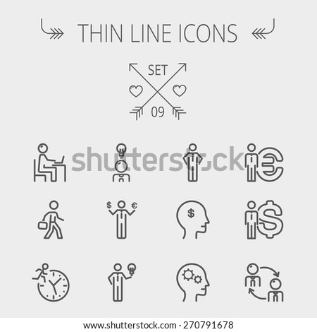 Business thin line icon set for web and mobile. Set includes-head, Euro, US dollar, clock, head, laptop, bulb icons. Modern minimalistic flat design. Vector dark grey icon on light grey background. - stock vector