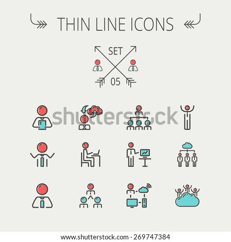 Business thin line icon set for web and mobile. Set includes- laptop, tablet, computer, globe, Businessmen, men, cloud. Modern minimalistic flat design. Vector icon with dark grey outline and offset - stock vector