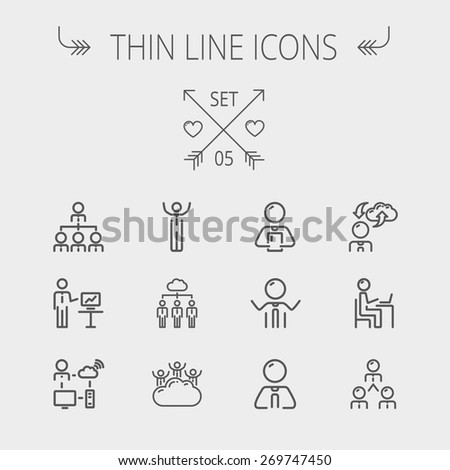 Business thin line icon set for web and mobile. Set includes- laptop, tablet, computer, globe, Businessmen, men, cloud. Modern minimalistic flat design. Vector dark grey icon on light grey background. - stock vector