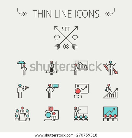 Business thin line icon set for web and mobile. Set includes- people, wifi, arrows, money, umbrella icons. Modern minimalistic flat design. Vector icon with dark grey outline and offset colour on - stock vector