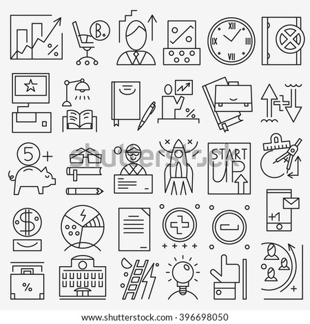 Business - thin line icons set - stock vector