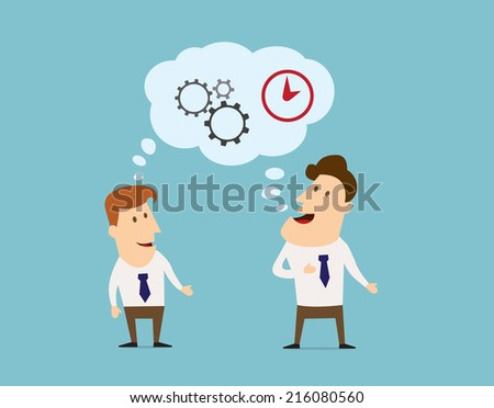 Business thinking, logistics and brainstorming flat characters design with talking cartoon businessmen, comics speech bubble, clock and gears - stock vector