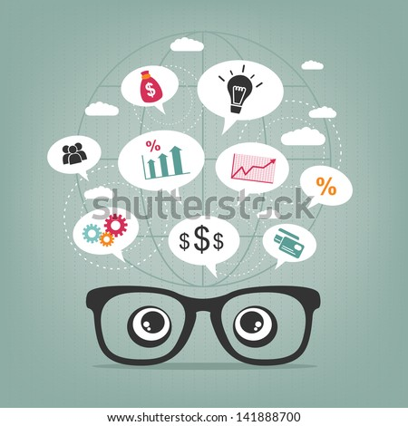 business thoughts - stock vector