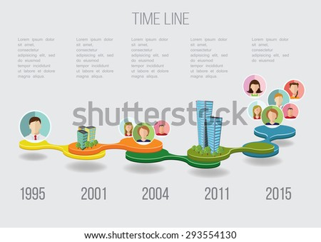 Business Time line with avatars and buildings vector illustration - stock vector