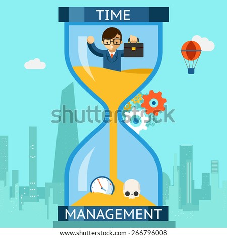 Business time management. Businessman sinking in hourglass. Finance clock, concept deadline. Vector illustration - stock vector