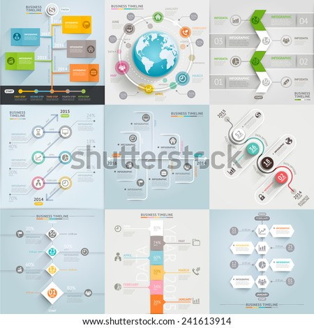Business timeline elements template. Vector illustration. can be used for workflow layout, banner, diagram, number options, web design, infographic template - stock vector
