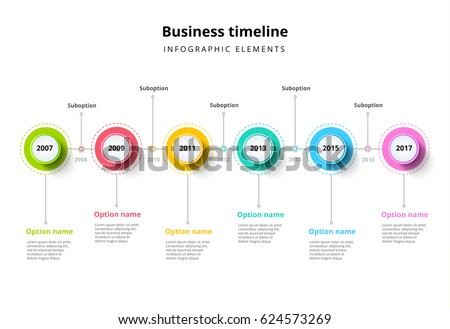 Business Timeline Step Circles Infographics Corporate Stock Vector