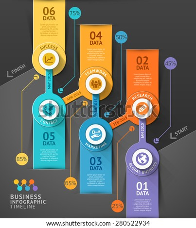 Business timeline info graphic template. Vector illustration. Can be used for workflow layout, banner, diagram, number options, web design. - stock vector