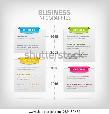 Business timeline Infographics with soft gray boxes with border. Colorful 3d tags. Vector illustration. - stock vector