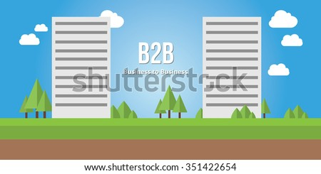 business to busines b2b concept corporate building - stock vector