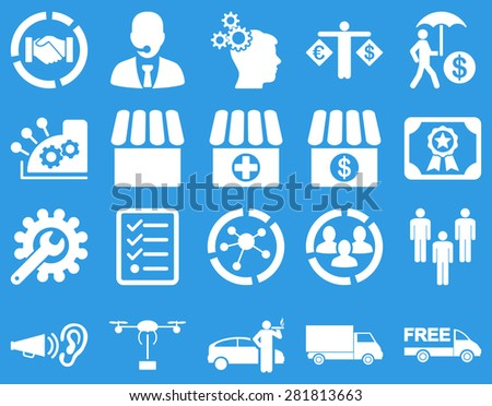Business, trade, shipment icons. These flat symbols use white color. Images are isolated on a blue background. Angles are rounded.