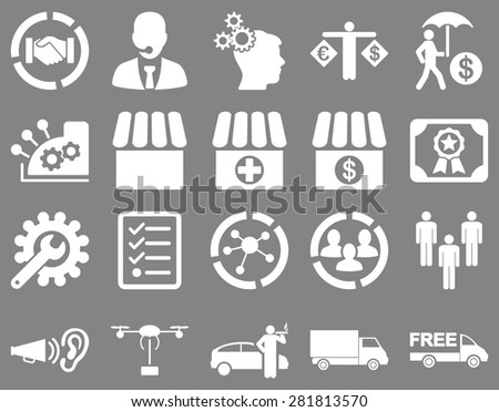 Business, trade, shipment icons. These flat symbols use white color. Images are isolated on a gray background. Angles are rounded.