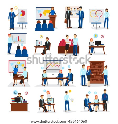 Business training and consulting programs for general management strategy and innovations flat icons collection isolated vector illustration  - stock vector