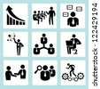 business training, company management icon set - stock photo
