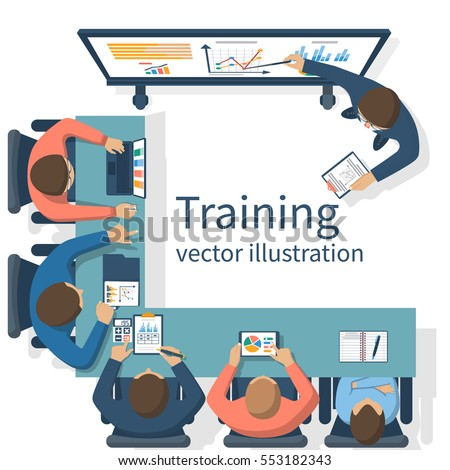 Business training concept. Corporate training staff. Briefing meeting. Business seminar. Vector illustration flat design. Conference employee. Planning decisions.